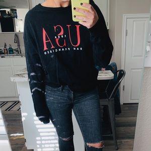 Red white and black USA crew neck sweatshirt